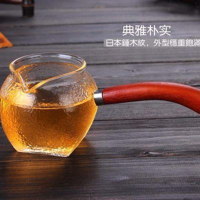 厂家直销日式手工锤目纹玻璃煮茶器侧把泡茶壶木把耐高温茶具