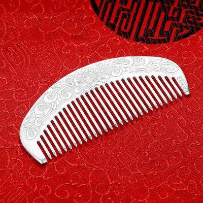 首选纯银梳子925纯手工足银发梳雪花银刮痧保健送妈妈梳子时尚