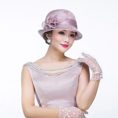 夏季新款菲律宾麻纱花朵优雅短檐宴会礼帽 微卷边透气遮阳帽