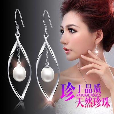 纯银天然珍珠大耳环女长款韩版个性气质水滴型淡水无瑕真珍珠耳环