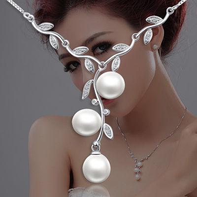 爱芙尔 时尚珠宝 春韵天然淡水珍珠项链 银镶嵌锆石 锁骨项链