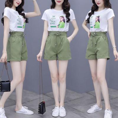 套装女夏两件套韩版洋气松紧高腰显瘦套装95棉印花上衣学生女短裤