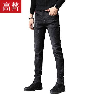 高梵牛仔裤男士弹力休闲大码长裤子直筒宽松潮流修身牛仔裤子