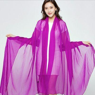 2米3超大丝巾披肩新款民族风纯色旅行防晒围巾女学生韩版春夏纱巾