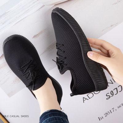 学生韩版运动鞋女透气防滑超轻老北京布鞋软底透气网鞋女休闲鞋