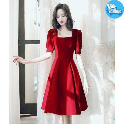 敬酒服新娘平时可穿酒红色晚礼服裙女夏季公主气质显瘦结婚中长款