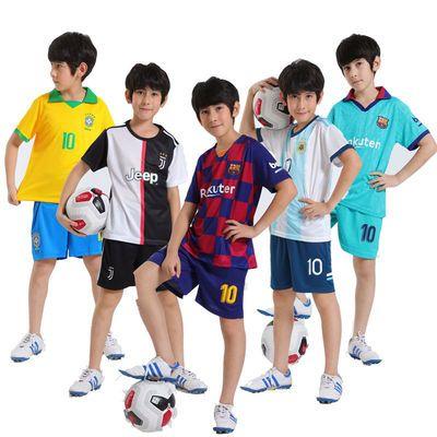 儿童足球服套装皇马巴萨男女童学生运动服带号码幼儿园表演足球衣