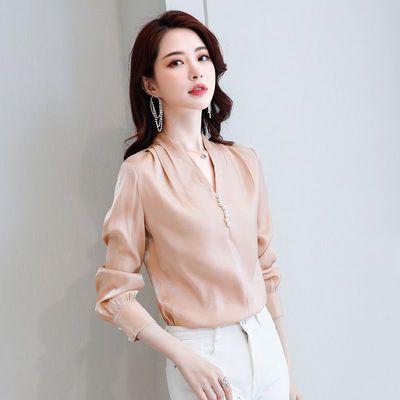 尚静 衬衫女2020春秋季新款V领长袖珍珠显瘦上衣气质雪纺衬衣女