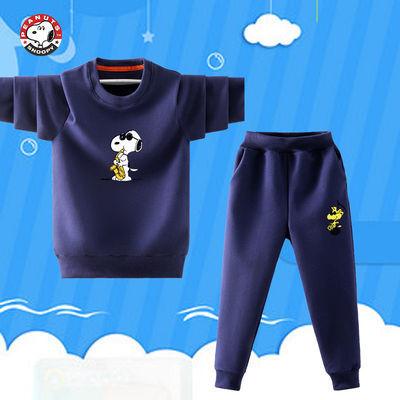 史努比SNOOPY男童长袖套装两件套2020秋冬新款中大童儿童洋气裤子