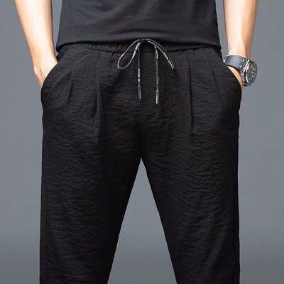 运动休闲裤男士裤子2020新款潮流夏天夏季超薄款速干冰丝宽松夏裤