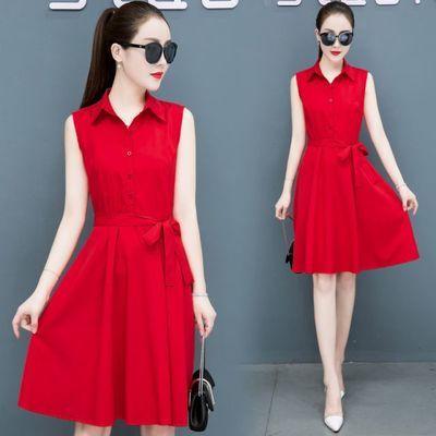 春秋连衣裙女夏2020新款修身中长款时尚长袖气质红色长款衬衫裙夏