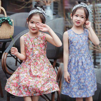 女童连衣裙碎花裙洋气薄款韩版小女孩碎花公主裙宝宝吊带背心裙