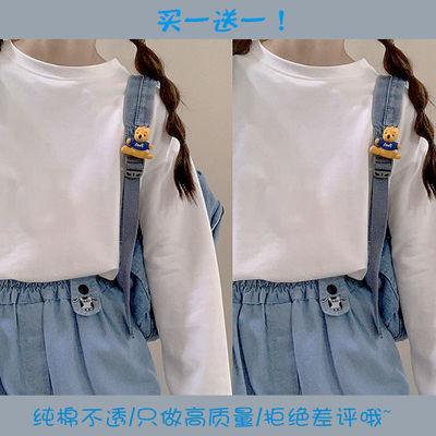 89876/买一送一!白色纯棉长袖T恤女厚实不透百搭学生宽松上衣内搭打底衫