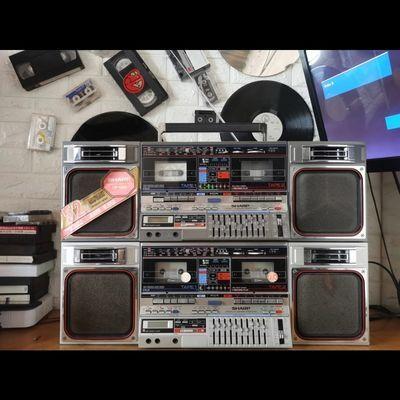 【80年代的】夏普GF800双卡磁带老式收录机录音机80年黑白随机发