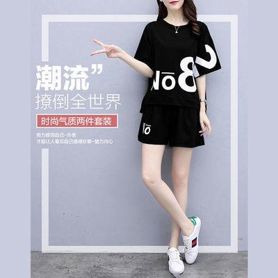 休闲运动服套装女夏2020新款时尚印花韩版宽松短袖短裤跑步两件套