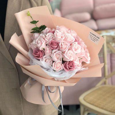 七夕情人节礼物生日送女友康乃馨仿真玫瑰花束假肥皂花香皂花礼盒