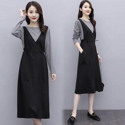 假两件外穿连衣裙女秋装长袖遮肚子显瘦冬季大码打底裙子女中长款