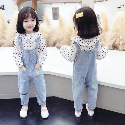 女童牛仔背带裤套装2020春秋装新款儿童宝宝洋气时髦韩版两件套潮
