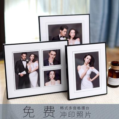 韩式婚纱照定制小相框摆台黑色水晶玻璃桌摆组合结婚照片制作10寸