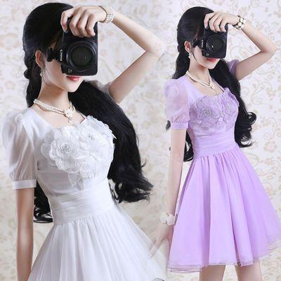 紫色绣花欧根纱短袖连衣裙女学生韩版夏季新款气质修身雪纺女装仙