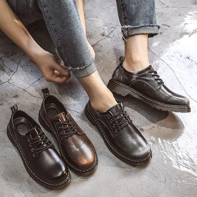 秋季马丁鞋男2020新款真皮鞋子休闲大头皮鞋男英伦风工装马丁靴男