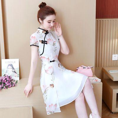 2020年新款荷叶袖旗袍式改良版连衣裙复古女夏天中国风年轻款少女