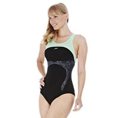 Speedo/速比涛泳感健身聚拢保守修身抗氯显瘦连体泳衣女两折包邮