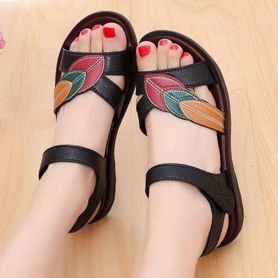 夏季妈妈凉鞋中年软底鞋平底大码女凉鞋防滑透气女鞋孕妇鞋
