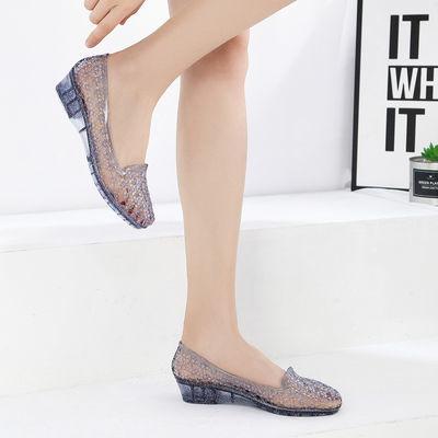 水晶包头凉鞋女时尚百搭休闲防滑透明镂空凉拖鞋舒适网鞋外穿夏季