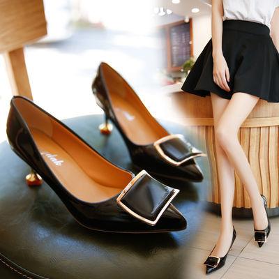 浅口单鞋女2020新款春秋鞋子女韩版高跟鞋女细跟尖头职业工作女鞋