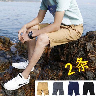 夏季薄款五分裤男士休闲短裤男纯棉修身潮流中裤5分马裤4四分裤子