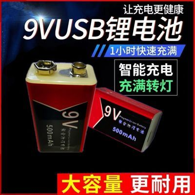 9V锂电USB可充电万用表测温仪探测器报警器话筒吉他6F22方块电池