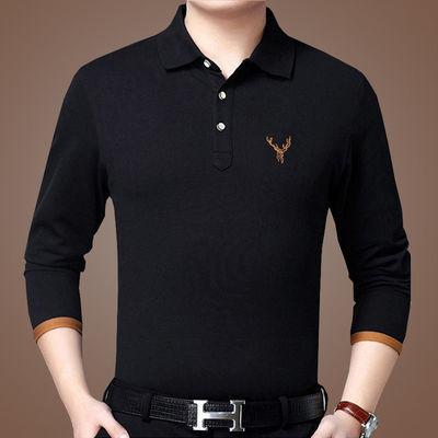 【畅销】秋装男装长袖POLO衫翻领男士T恤男翻领POLO衫纯色大码