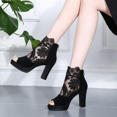 欧美性感蕾丝超高跟鞋凉鞋女夏2020新款百搭时尚粗跟鱼嘴网纱凉靴