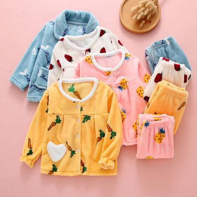 儿童法兰绒睡衣秋冬季套装加厚款珊瑚绒宝宝小孩子男童女童家居服