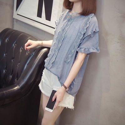 韩版夏季装开衫大码女微胖妹妹斤单层花边重工艺短袖洋气衬衣