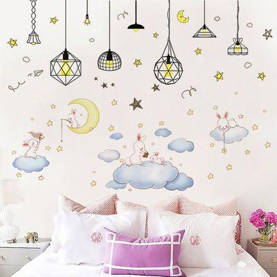 可爱猫咪墙纸自粘卧室床头背景装饰品卡通墙贴少女心宿舍装扮贴画