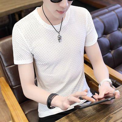 男士单层镂空冰丝纯色短袖青年紧身网纱半截袖圆领透气网眼t恤衫