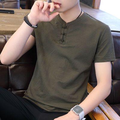 2020短袖t恤男潮流下季中国风宽松男士短袖t恤盘扣打底衫