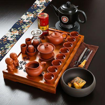 锦溢家用茶具套装紫砂套组 实木茶盘带陶瓷茶壶茶杯功夫茶器整套