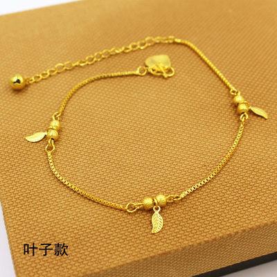 新款越南沙金久不掉色脚链女生爱心金鱼钱袋欧币金时尚流行首饰