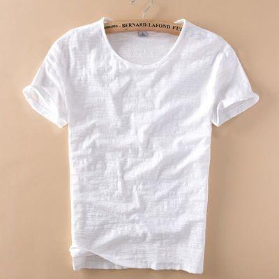 柔软竹节棉短袖T恤男士休闲薄款日系做旧毛边圆领修身新款男t恤衫