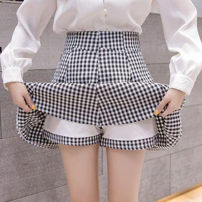 74745/春秋格子百搭半身裙2021新款女夏短裙学院风高腰蓬蓬裙显瘦百褶裙