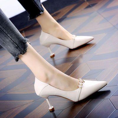 2020春季新款韩版百搭高跟鞋女细跟尖头单鞋时尚5厘米职业工作鞋