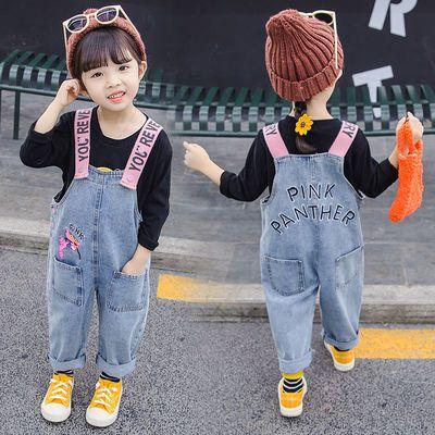 粉笔盒子女童洋气女宝宝背带裤秋装1-3-5岁韩版女儿童牛仔吊带裤