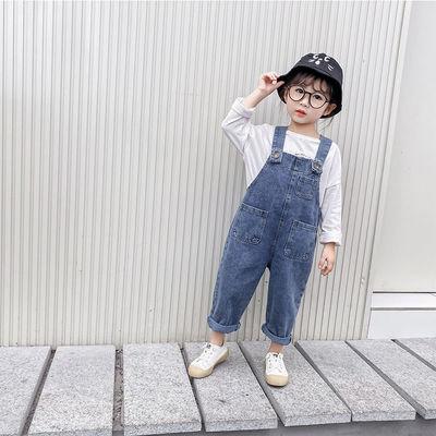 女童牛仔背带裤春秋装洋气中小童韩版宝宝宽松裤子儿童背带长裤