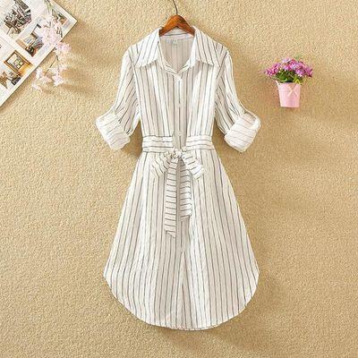中长款衬衫裙子春秋韩版新款女装时尚条纹衬衣学生气质长袖连衣裙