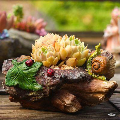创意动物微景观摆件桌面花盆田园石头树桩个性造型多肉植物小盆栽