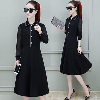 雪纺长袖连衣裙女2020秋新款女装中长款潮时尚气质流行衬衫裙子