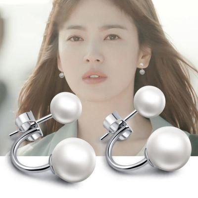 925银饰珍珠耳钉女长款 韩国气质性感耳坠大气淑女优雅后挂式耳环